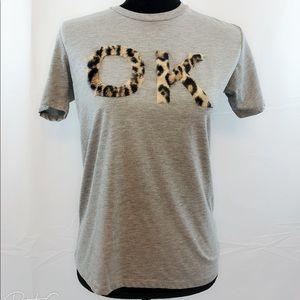 ASOS Gray cheetah print OK t shirt